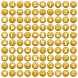 100 значков исследования злодеяния установили золото иллюстрация штока