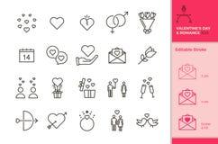 20 значков любови и роман для случаев как свадьба, день Валентайн, датировка, медовый месяц etc В формате вектора с editable бесплатная иллюстрация
