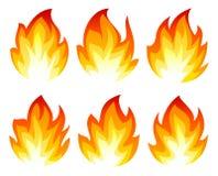 6 значков огня Стоковые Фотографии RF