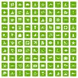 100 значков пляжа установили зеленый цвет grunge Стоковое Фото