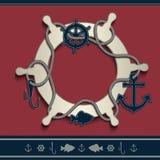 Значков рамки штурвала пробел морских красный голубой Стоковые Фото