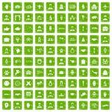 100 значков рукопожатия установили зеленый цвет grunge Стоковое Изображение