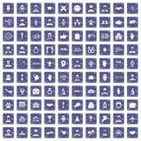 100 значков рукопожатия установили сапфир grunge Стоковая Фотография RF