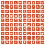 100 значков рукопожатия установили grunge оранжевый Стоковая Фотография RF