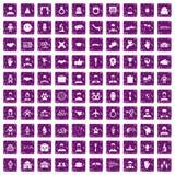 100 значков рукопожатия установили grunge фиолетовый Стоковые Фотографии RF