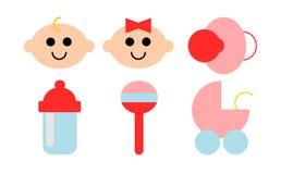 6 значков связанных к младенцам иллюстрация вектора