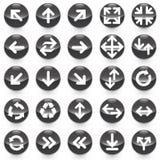 25 значков стрелок с черной предпосылкой Иллюстрация штока