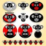 10 значков с обезьянами - комплектом Стоковая Фотография