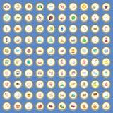 100 значков туристической достопримечательности установили вектор шаржа Стоковое Изображение