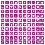 100 значков фитнеса установили пинк grunge иллюстрация вектора