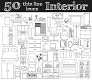 50 значков для интерьера Тонкая линия комплект Стоковое фото RF