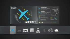 Значок авиакомпании для содержания перемещения Применение цифрового дисплея иллюстрация штока