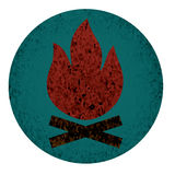 Значок лагерного костера плоский Стоковое Изображение RF