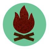 Значок лагерного костера плоский Стоковое фото RF