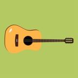 Значок акустической гитары Иллюстрация вектора музыкального инструмента Плоский дизайн стиля с длинной тенью Стоковые Изображения RF