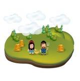 Значок ландшафта сельской местности с молодыми фермерами Бесплатная Иллюстрация