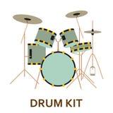 Значок аппаратуры музыки голубой набор барабанчика Стоковые Изображения
