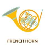 Значок аппаратуры музыки французский рожочок Стоковое Изображение