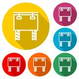 Значок афиши или логотип, набор цвета с длинной тенью иллюстрация штока