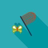 Значок бабочки сетчатый плоский с длинной тенью Стоковое Изображение