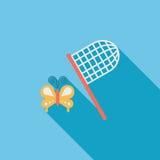 Значок бабочки сетчатый плоский с длинной тенью Стоковые Фотографии RF
