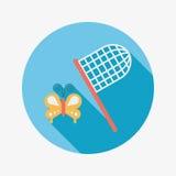 Значок бабочки сетчатый плоский с длинной тенью Стоковые Изображения