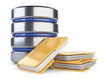 Значок базы данных с папками на серверах в облаке иллюстрация вектора
