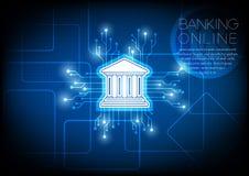 Значок банка с концепцией предпосылки цепи Стоковая Фотография