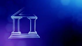 Значок банка Финансовая предпосылка сделанная частиц зарева как vitrtual hologram безшовная анимация 3D с глубиной  сток-видео