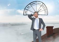 Значок барометра хороший и плохой при бизнесмен стоя на крыше с морским портом печной трубы и города Стоковое Изображение