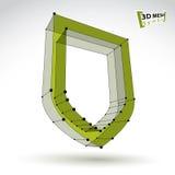 значок безопасностью зеленого цвета сети сетки 3d Стоковые Изображения