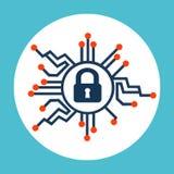 Значок безопасностью кибер Стоковые Фото