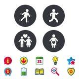 Значок беременности женщин Человеческий идущий символ иллюстрация вектора