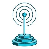 Значок беспроводной сети Знак Wifi изолированный на белой предпосылке Искусство цветного барьера конструкция ретро Стоковая Фотография RF