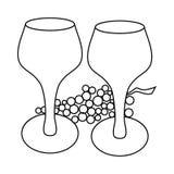 Значок бокала и виноградины, стиль плана иллюстрация штока