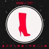 Значок ботинок женщин, современный силуэт Пункт меню в веб-дизайне Стоковая Фотография RF