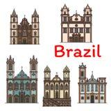 Значок бразильского ориентир ориентира перемещения архитектуры линейный бесплатная иллюстрация