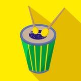 Значок бразильского шаржа барабанчика плоский Бразилии также вектор иллюстрации притяжки corel Стоковое Изображение RF