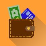 Значок бумажника в цвете Покупки наличных денег случая денег Стоковое Фото
