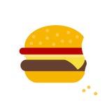 Значок бургера плоский на белой предпосылке Стоковое Фото