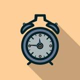 Значок будильника с длинной тенью Стоковое Фото