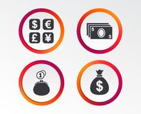 Значок валютной биржи Сумка денег наличных денег, бумажник иллюстрация вектора