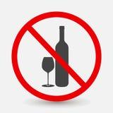 Значок вектора алкогольных напитков запрета выпивая Prohibitin Стоковое фото RF