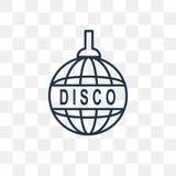 Значок вектора диско изолированный на прозрачной предпосылке, линейном Dis иллюстрация штока
