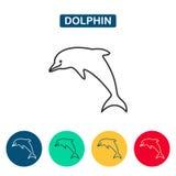 Значок вектора дельфина Стоковые Фото