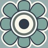 Значок вектора запаса Значок солнцецвета плоский Цветок весны на голубой предпосылке Стоковые Фото