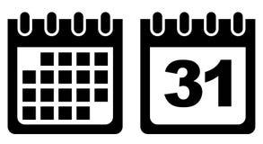 Значок вектора календаря черно-белый Стоковое фото RF