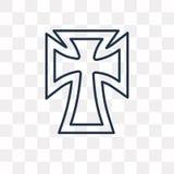 Значок вектора католицизма на прозрачной предпосылке, линии иллюстрация штока