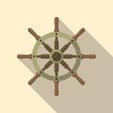 Значок вектора кормила корабля плоский Стоковое Фото