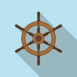 Значок вектора кормила корабля плоский Стоковые Фото